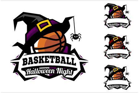 Basketball ball halloween hat logo vector