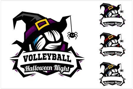 Volleyball ball halloween hat logo vector