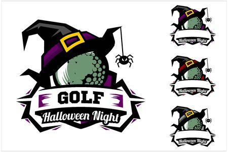 Golf ball halloween hat logo vector
