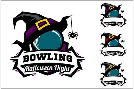 Bowling ball halloween hat logo vector