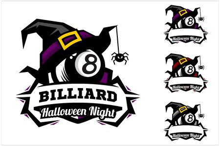 billiard 8 ball halloween hat logo vector
