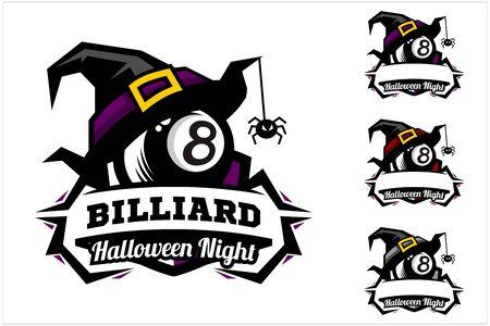 billiard 8 ball halloween hat logo vector