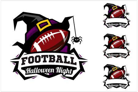 Football ball halloween hat logo vector Ilustracja