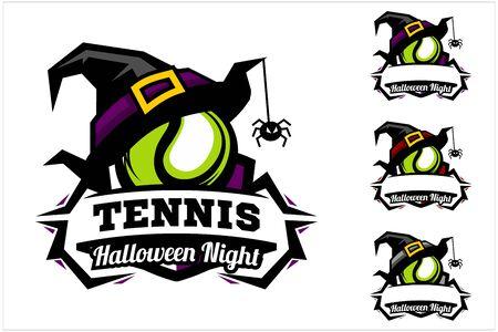 Tennis ball halloween hat logo vector Ilustracja