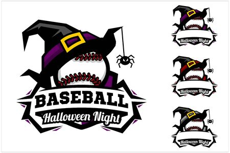 Baseball ball halloween hat logo vector