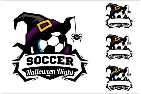 Soccer ball halloween hat logo vector Ilustracja