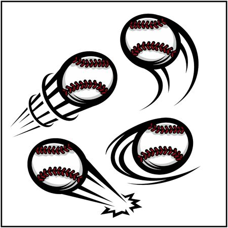 Baseball swoosh set of 4 Illustration