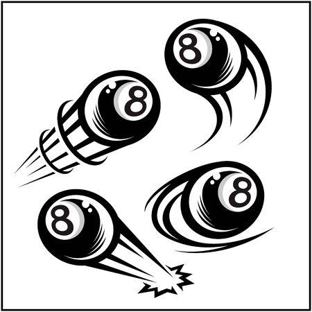 Billiard 8 ball swoosh set of 4