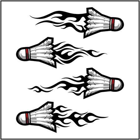 sport ball tribal flame vector set of 4 Illustration