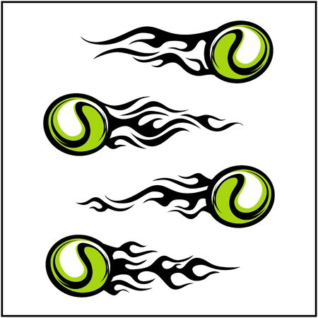 sport ball tribal flame vector set of 4  イラスト・ベクター素材