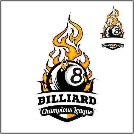 Billiard 8 ball flame badge vector