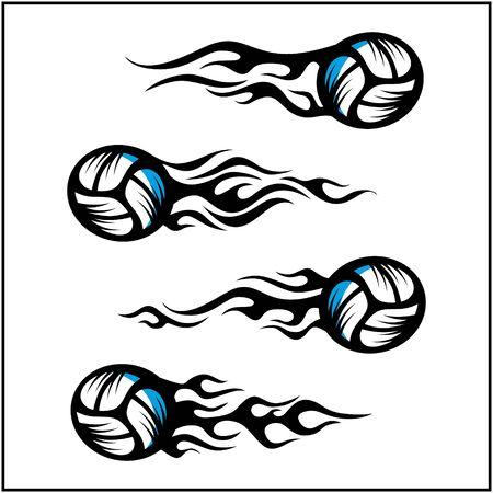 sport ball tribal flame vector set of 4 Иллюстрация