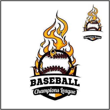 Baseball ball flame badge vector Фото со стока - 129994626