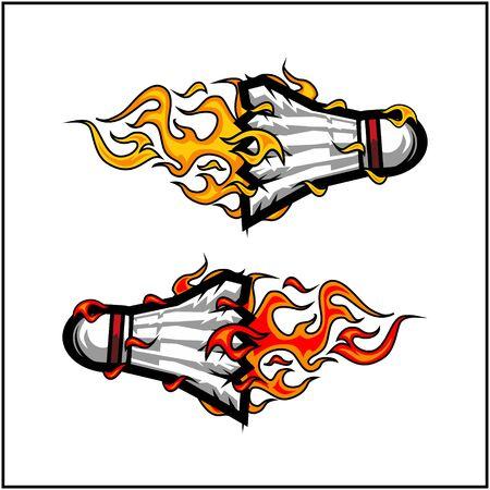 sport ball flame vector set of 2 Фото со стока - 129994628