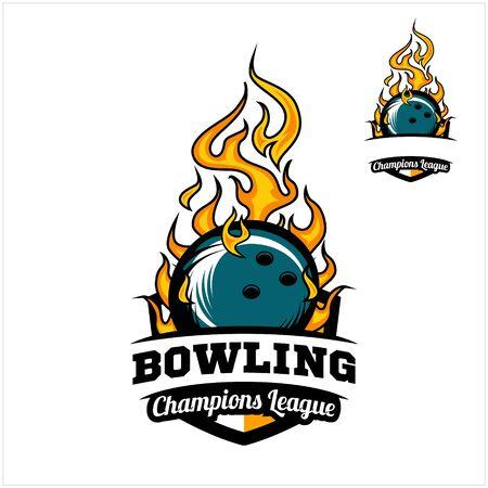 Bowling ball flame badge vector Фото со стока - 129994629
