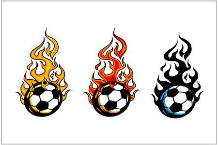 sport ball flame vector set of 3 Фото со стока - 129994631