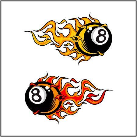 sport ball flame vector set of 2 Фото со стока - 129994630