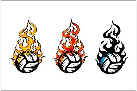 sport ball flame vector set of 3 Фото со стока - 129994633