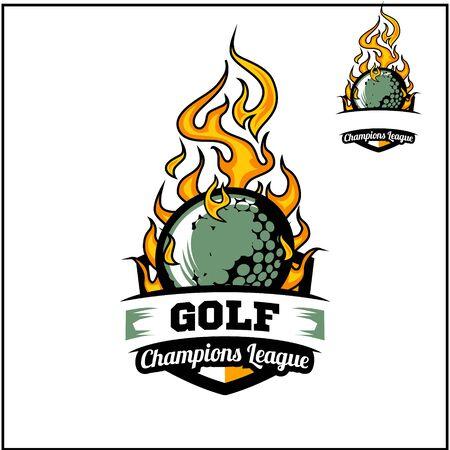 Golf ball flame badge vector Иллюстрация