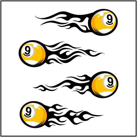 sport ball tribal flame vector set of 4 Illusztráció