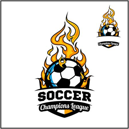 Soccer ball flame badge vector Фото со стока - 129994639