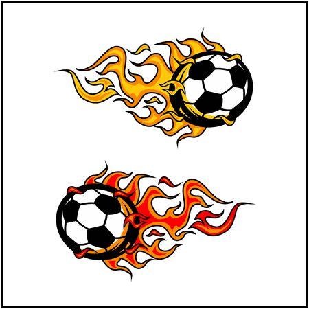 sport ball flame vector set of 2 Фото со стока - 129994783