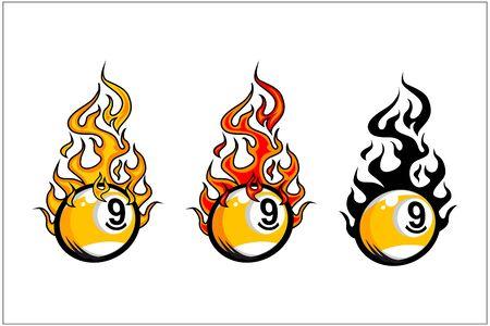 sport ball flame vector set of 3 Фото со стока - 129994786