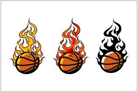 sport ball flame vector set of 3 Фото со стока - 129994787