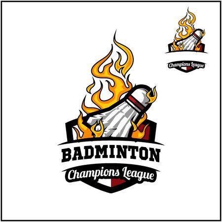 Badminton ball flame badge vector
