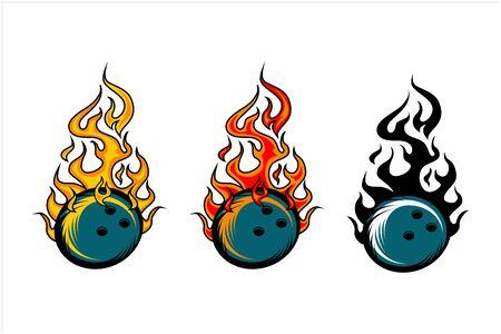 sport ball flame vector set of 3