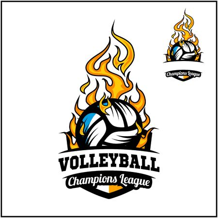 Volleyball ball flame badge vector