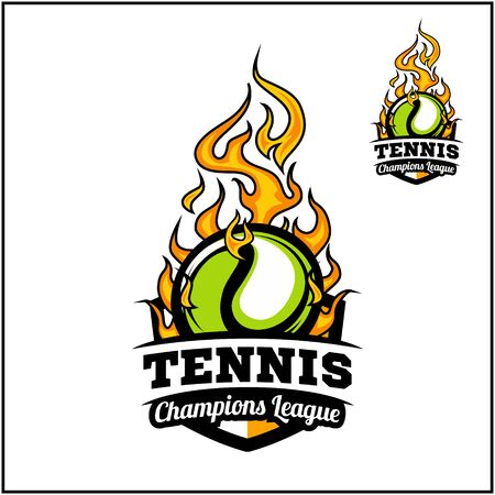 Tennis ball flame badge vector
