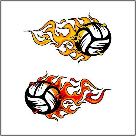 sport ball flame vector set of 2