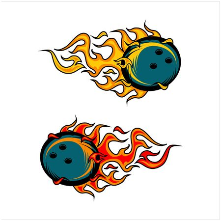 sport ball flame vector set of 2