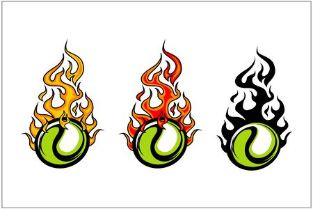 sport ball flame vector set of 3