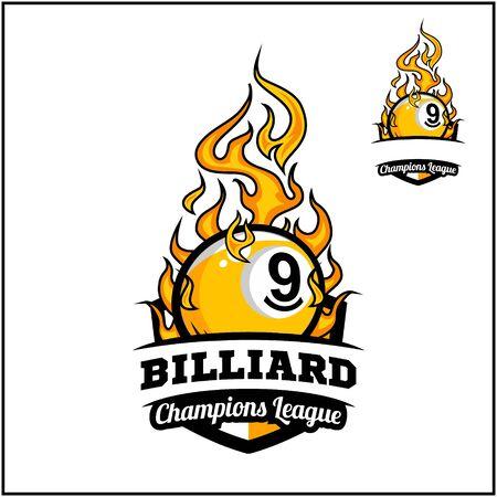 Billiard 9 ball flame badge vector Иллюстрация