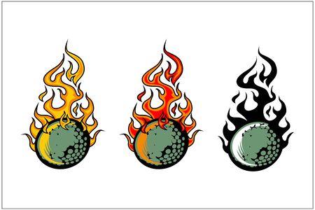 sport ball flame vector set of 3 Фото со стока - 129994850