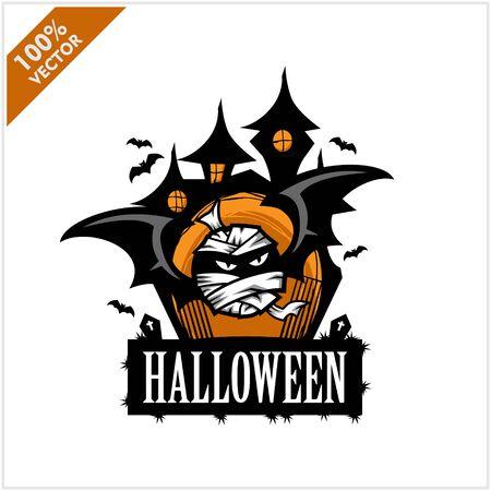 Halloween Skull Castle Vector Logo Illustration