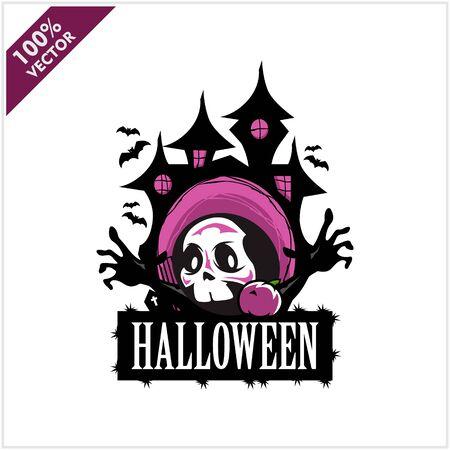 Halloween Skull Castle Vector Logo Stock Illustratie