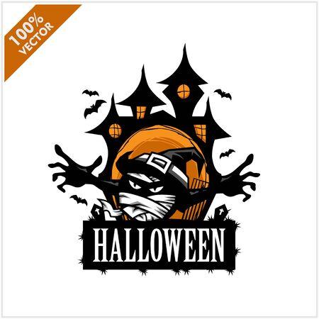 Halloween Mummy Castle Vector Logo