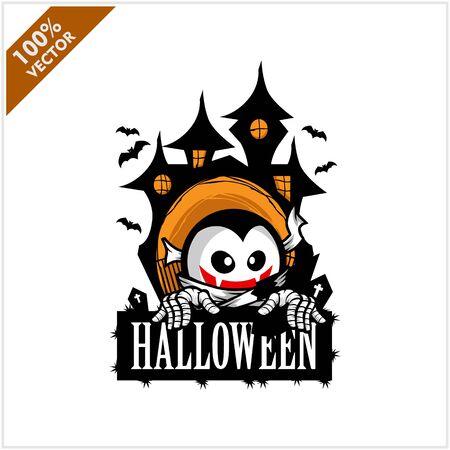 Halloween Vampire Castle Logo Vector