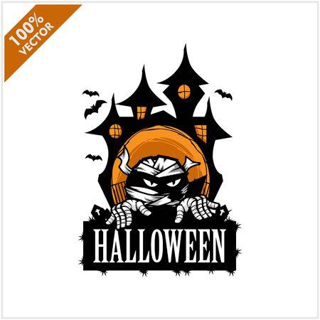Halloween Mummy Castle Logo Vector