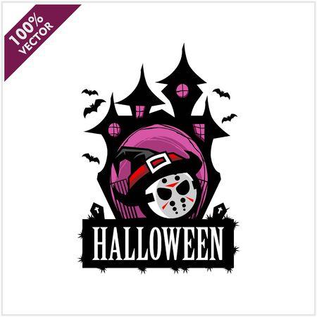 Halloween Hockey Mask Castle Vector Logo Illustration