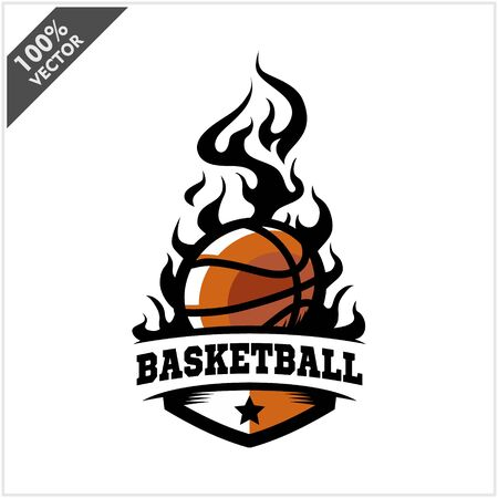 Basketball ball flame badge logo vector