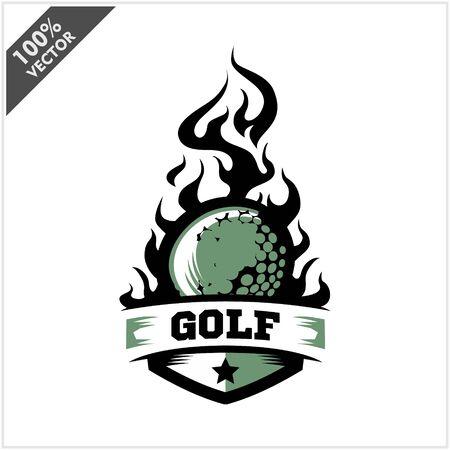 Golf ball flame badge logo vector