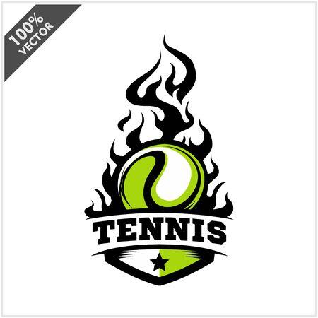 Tennis ball flame badge logo vector