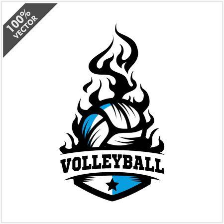 Volleyball ball flame badge logo vector Stock Illustratie