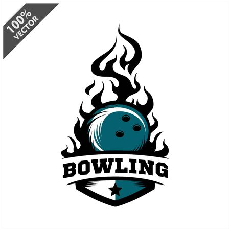 Bowling ball flame badge logo vector Stock Illustratie