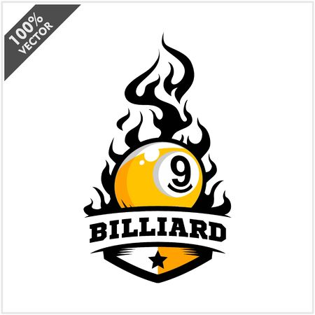 Billiard 9 ball flame badge logo vector