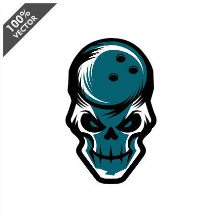 Bowling skull Head Logo Vector